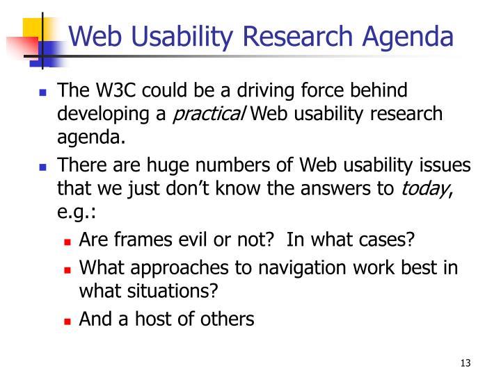 Web Usability Research Agenda