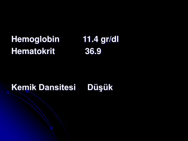 Hemoglobin          11.4 gr/dl