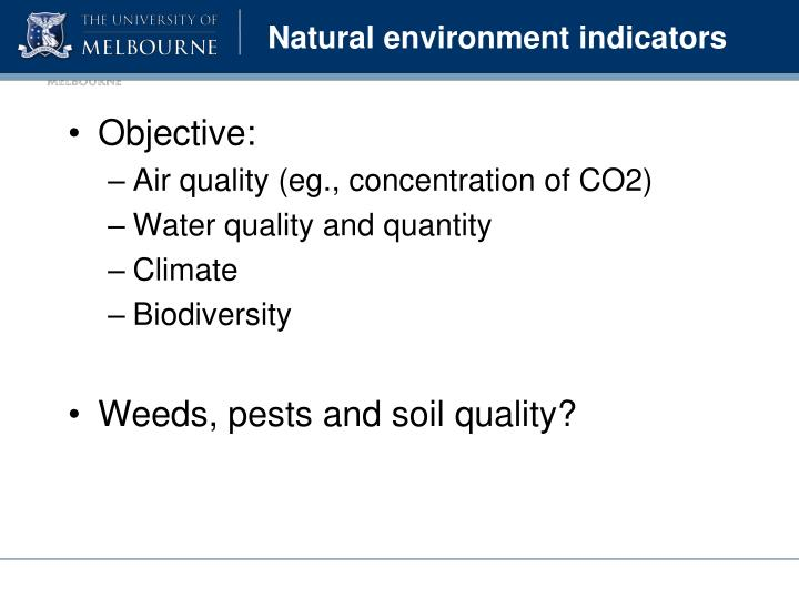 Natural environment indicators