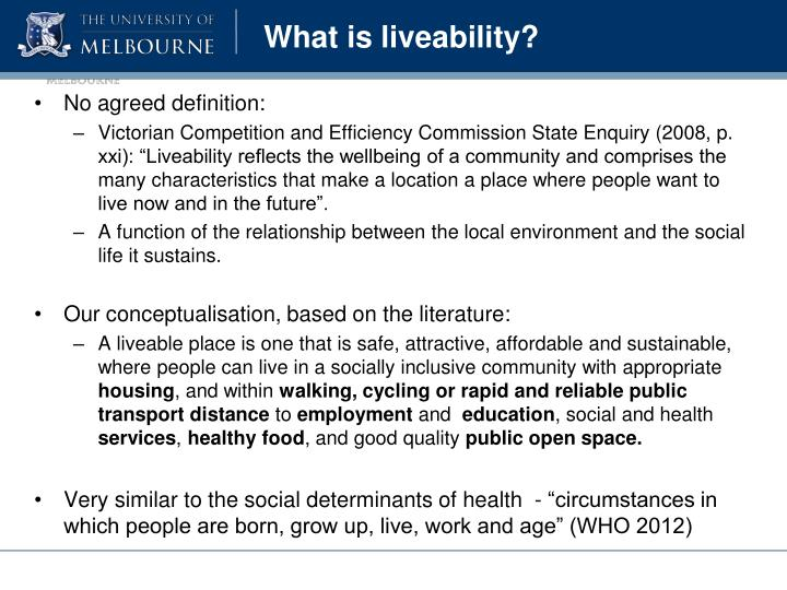 What is liveability?
