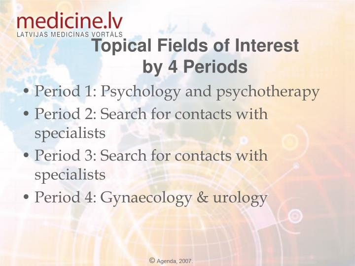 Topical Fields of Interest