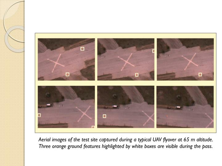 Aerial images of the test site captured during a typical UAV flyover at 65 m altitude. Three orange ground features highlighted by white boxes are visible during the pass.