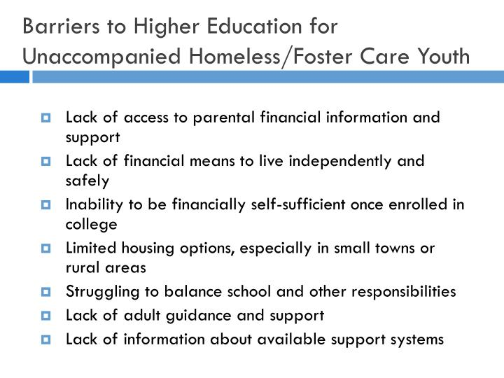 Barriers to Higher Education for