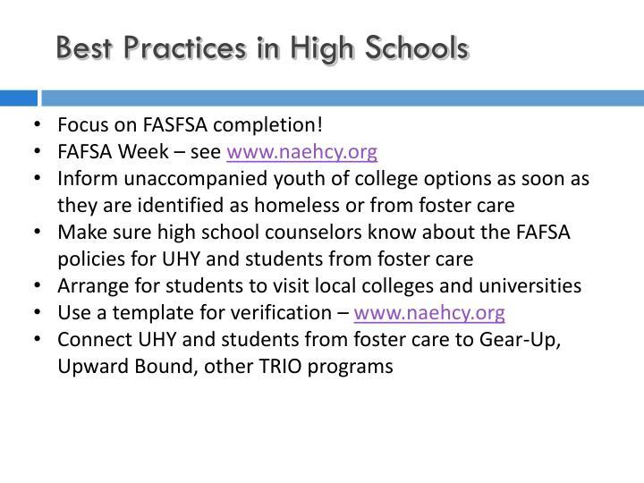 Best Practices in High Schools