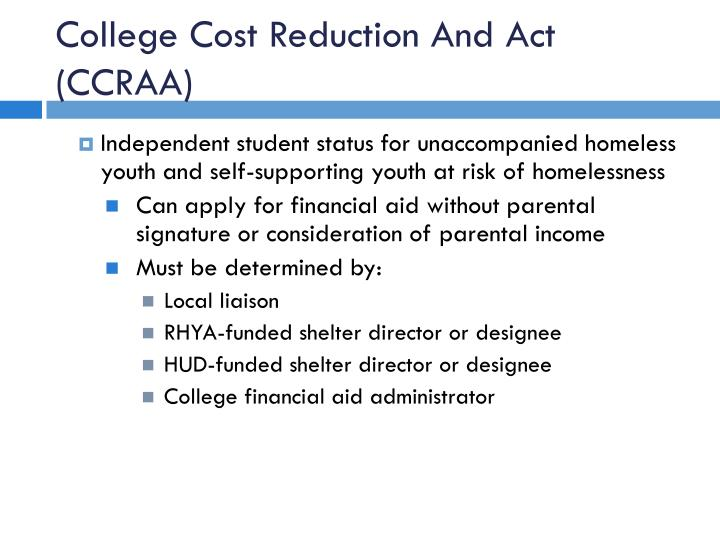 College Cost Reduction And Act (CCRAA)