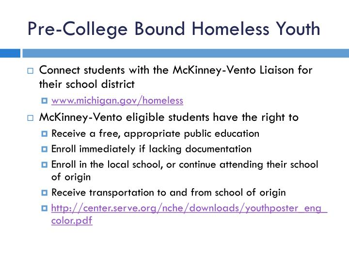 Pre-College Bound Homeless Youth
