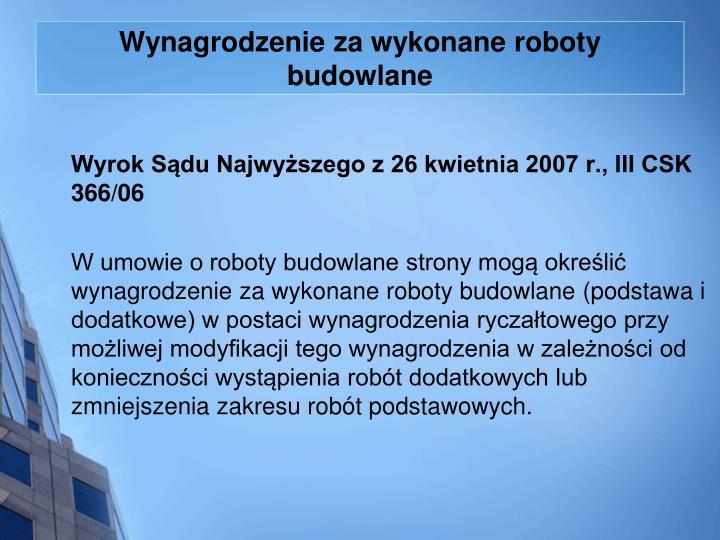 Wynagrodzenie za wykonane roboty budowlane