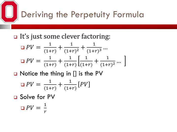 Deriving the Perpetuity Formula