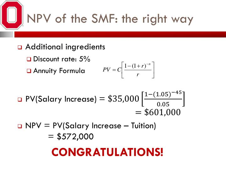 NPV of the SMF: the right way