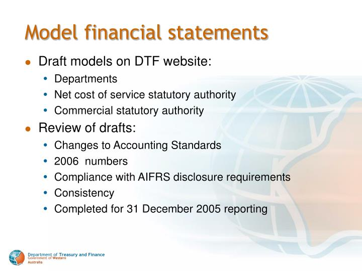 Model financial statements