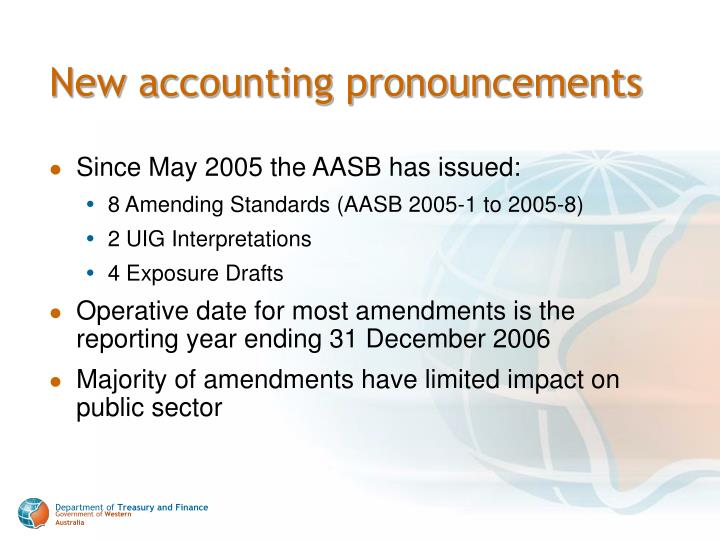 New accounting pronouncements