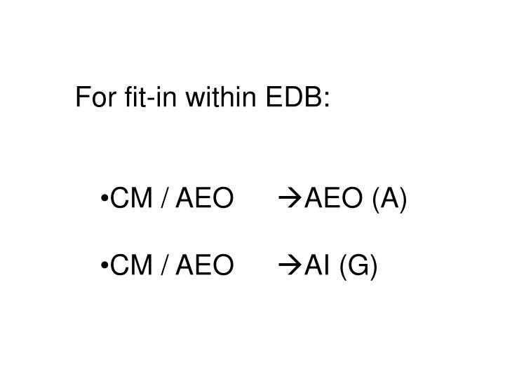 For fit-in within EDB: