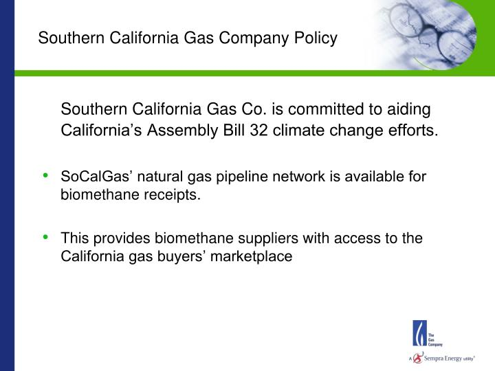 Southern California Gas Company Policy
