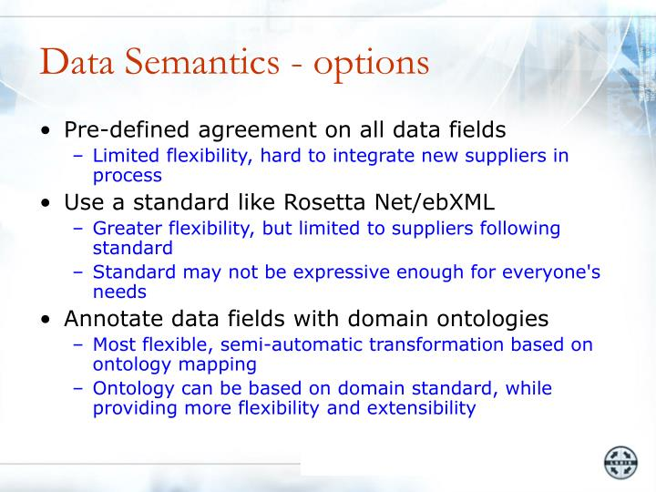 Data Semantics - options