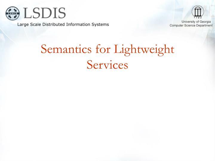 Semantics for Lightweight Services