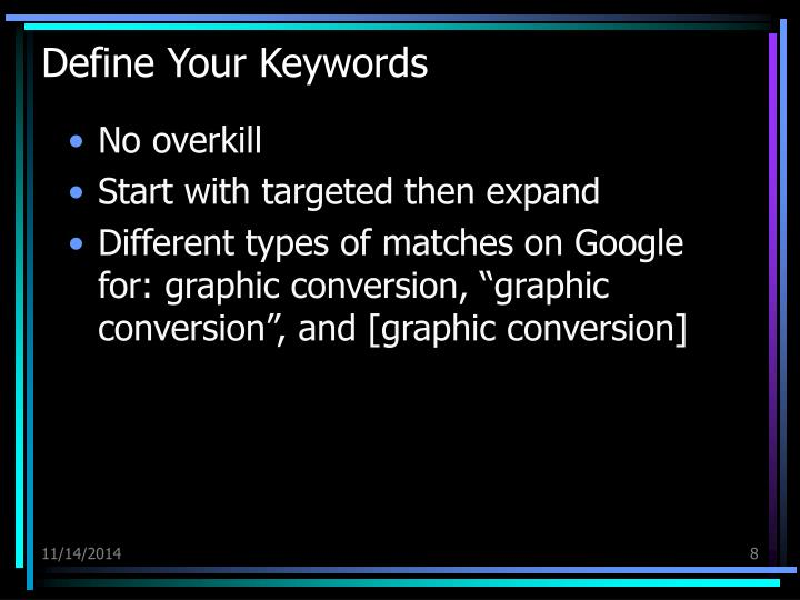 Define Your Keywords