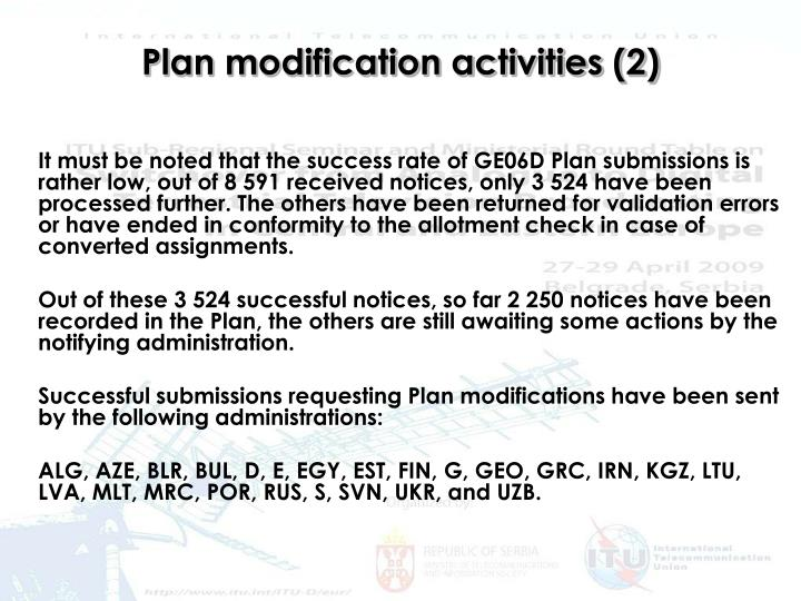 Plan modification activities (2)