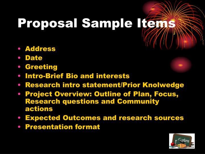 Proposal Sample Items