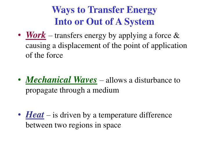 Ways to Transfer Energy