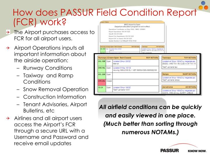 How does PASSUR Field Condition Report (FCR) work?