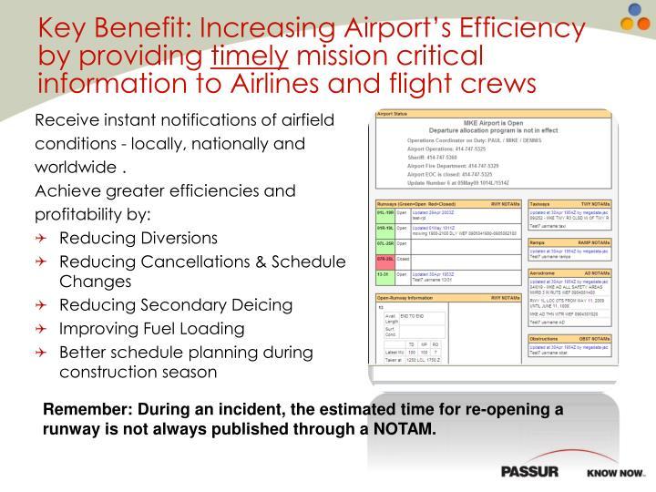 Key Benefit: Increasing Airport's Efficiency