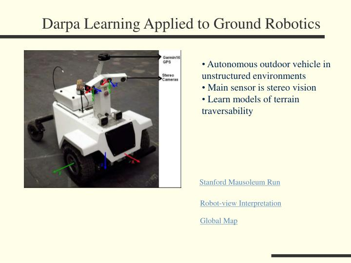 Darpa Learning Applied to Ground Robotics