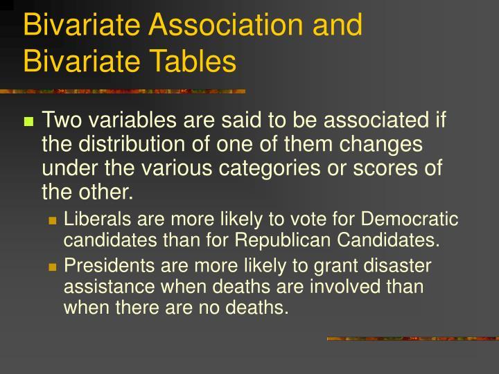 Bivariate Association and Bivariate Tables