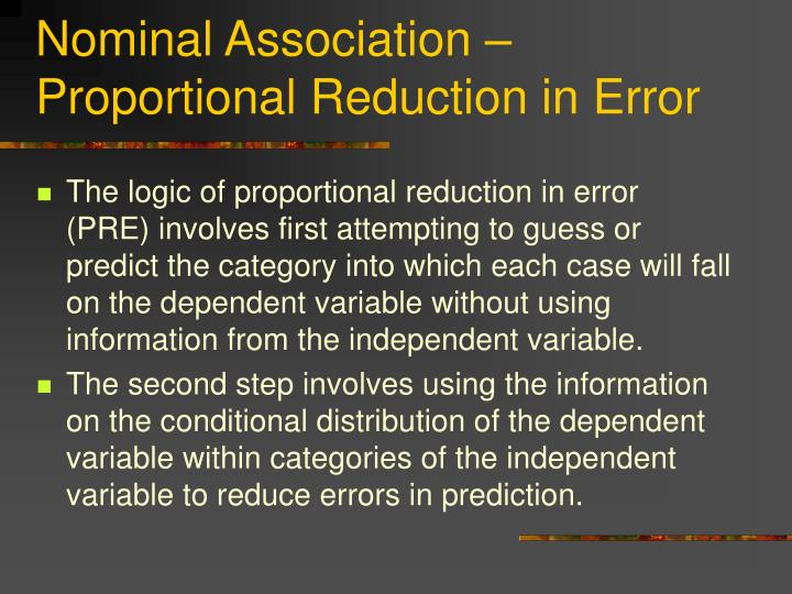 Nominal Association – Proportional Reduction in Error