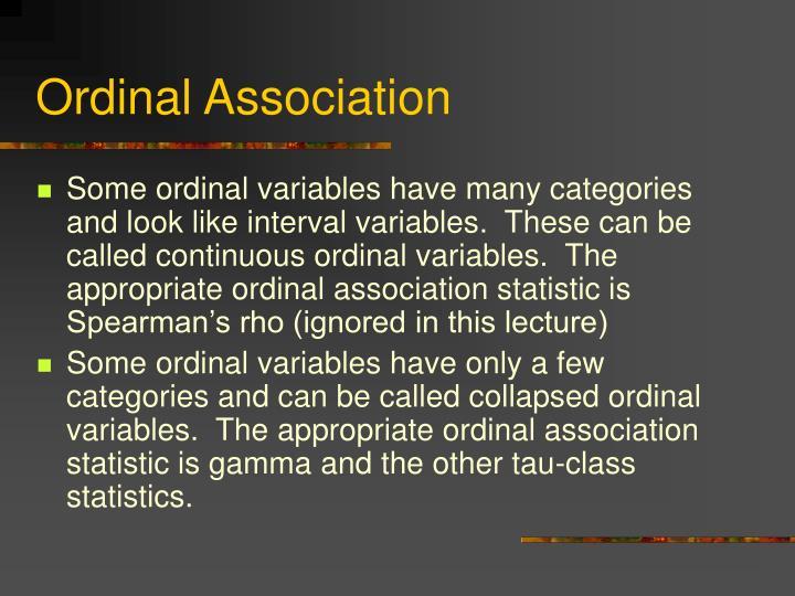 Ordinal Association