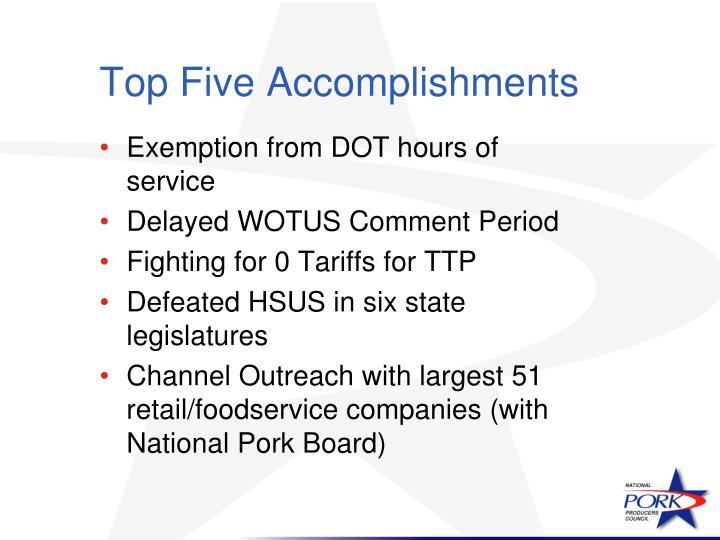 Top Five Accomplishments