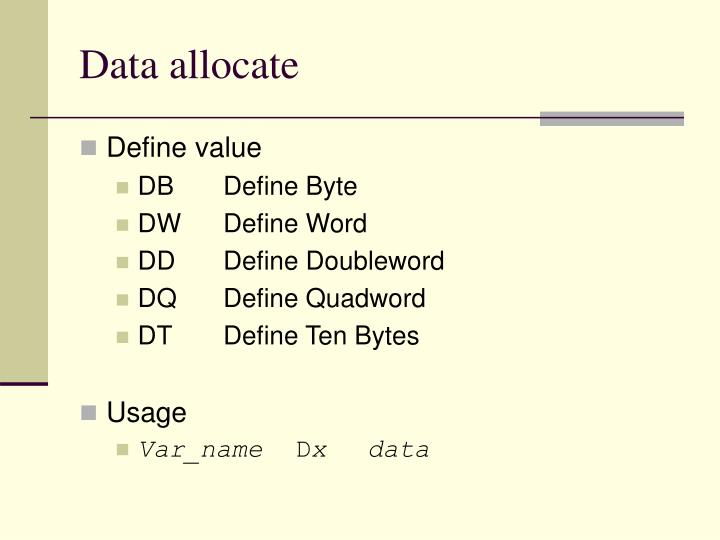 Data allocate