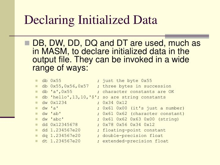 Declaring Initialized Data
