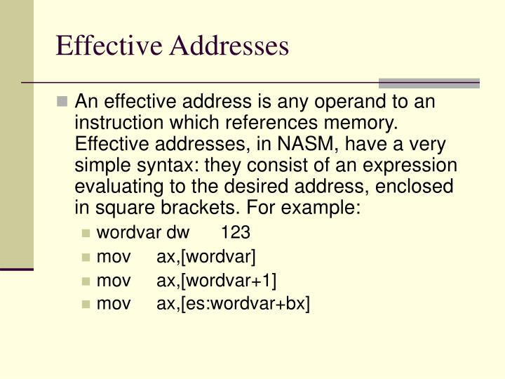 Effective Addresses