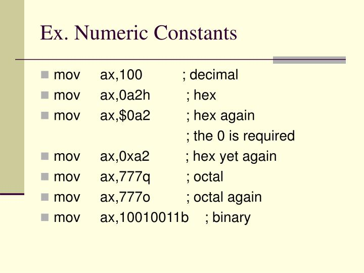 Ex. Numeric Constants