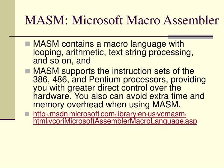 MASM: Microsoft Macro Assembler