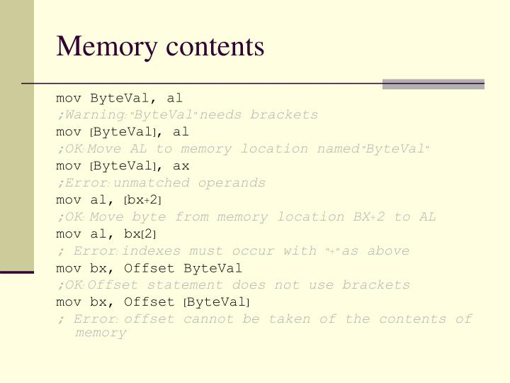 Memory contents