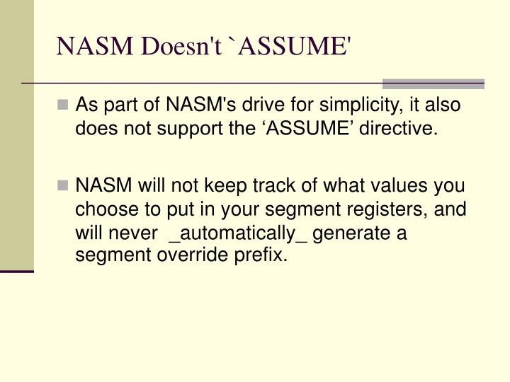 NASM Doesn't `ASSUME'