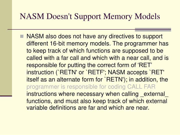 NASM Doesn't Support Memory Models