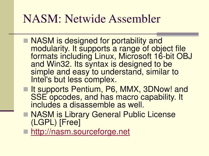 NASM: Netwide Assembler
