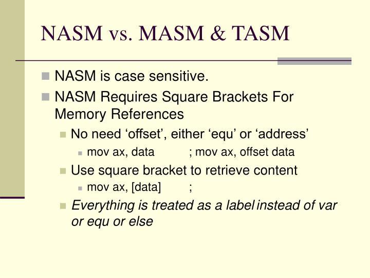 NASM vs. MASM & TASM