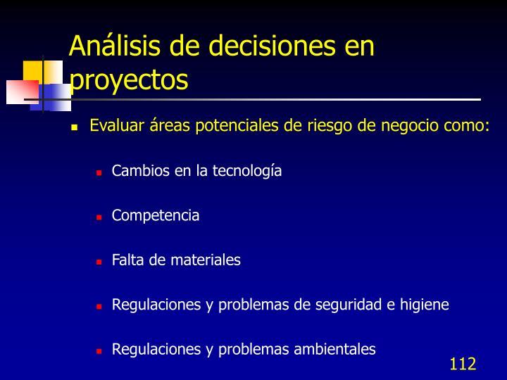 Análisis de decisiones en proyectos