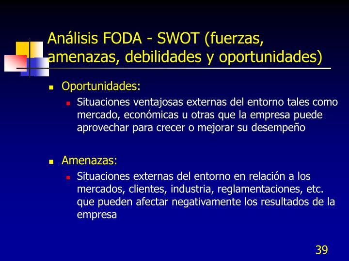Análisis FODA - SWOT (fuerzas, amenazas, debilidades y oportunidades)