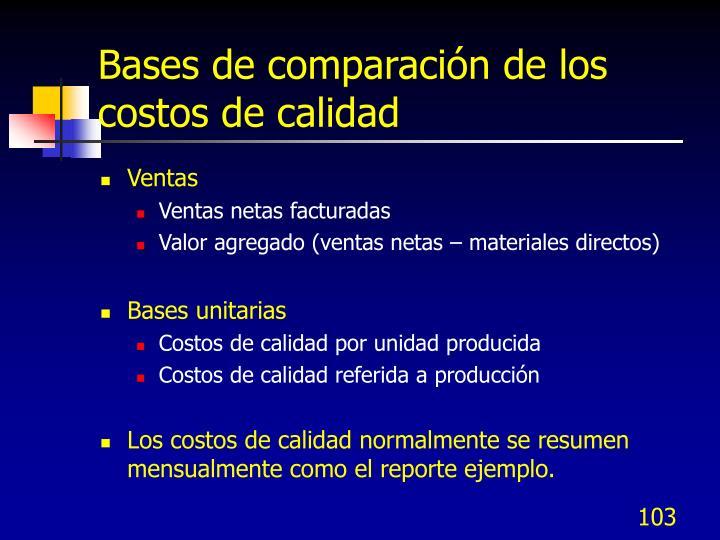 Bases de comparación de los costos de calidad
