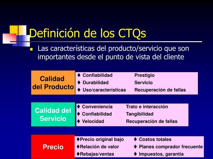 Definición de los CTQs