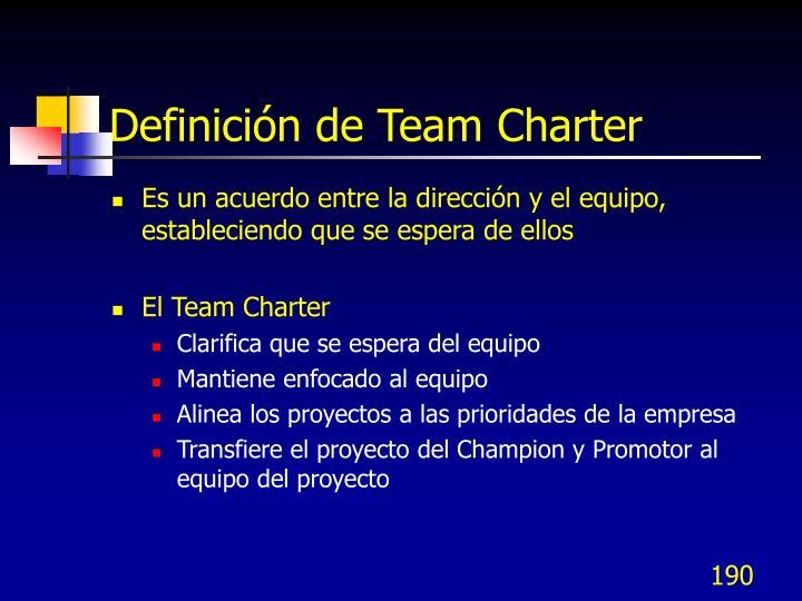 Definición de Team Charter