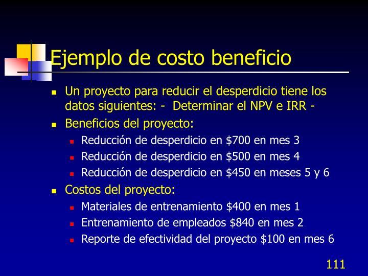 Ejemplo de costo beneficio