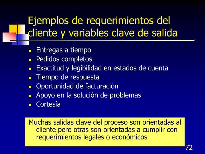 Ejemplos de requerimientos del cliente y variables clave de salida