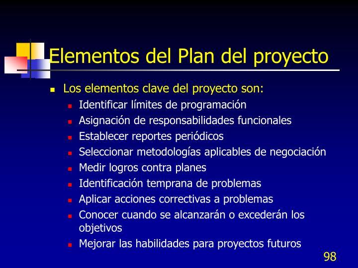 Elementos del Plan del proyecto