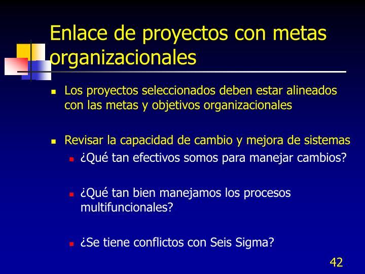 Enlace de proyectos con metas organizacionales