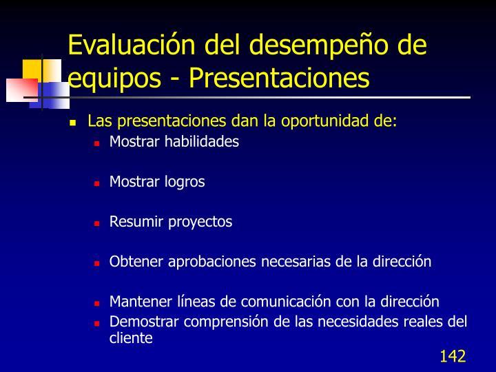 Evaluación del desempeño de equipos - Presentaciones